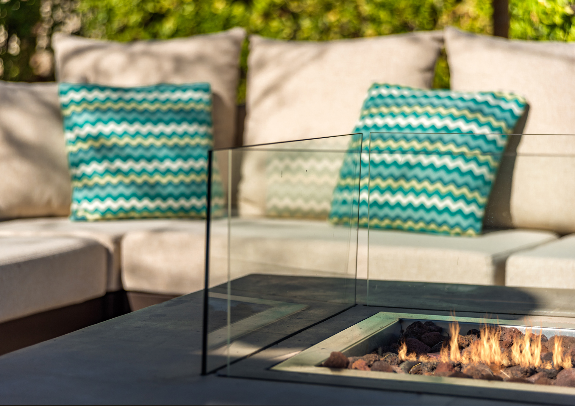 Outdoor Sectional and Fire Table