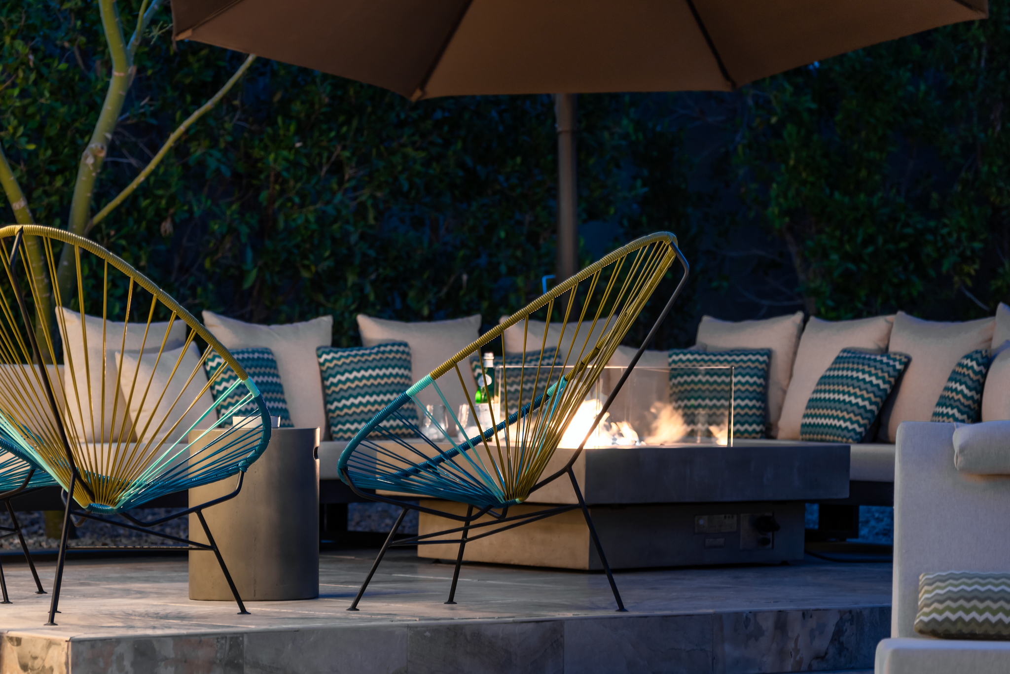 Lounge Chairs and Fire Table